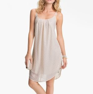 EUC Mimi Chica Metallic Stripe Trapeze Slip Dress